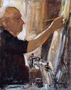 """Autoritratto al cavalletto, 1981 - 1982 Tempera su tela, 50 x 40 cm. Firmato in basso a destra: """"Asturi A."""" Donazione Anna Maria Asturi"""