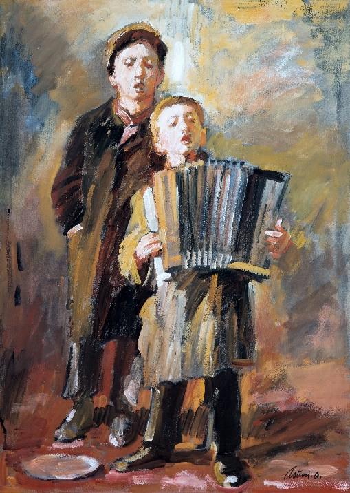 "Cantastorie, 1955 – 1960 Tempera su cartone, 75 x 51 cm. Firmato in basso a destra: ""Asturi A."" Donazione Gregorio Asturi"