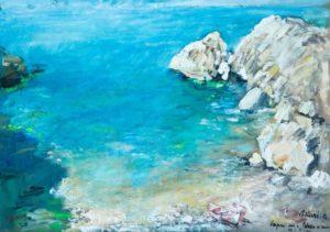 """Capri da Palazzo a mare, 1947 Tempera su cartone, 51 x 72 cm. Firmato in basso a destra: """"Asturi A., Capri 946, Palazzo a mare"""" Donazione Anna Maria Asturi"""