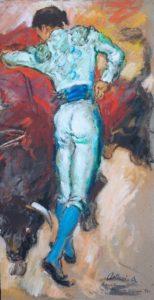 """Corrida, 1971 Tempera su cartone, 71.5 x 36.5 cm. Firmato e datato in basso a destra: """"Asturi A., Barcellona, domenica 20 giugno 971"""""""