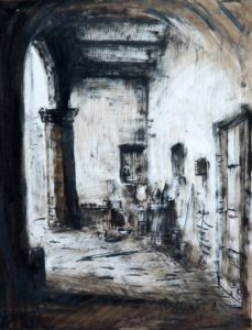 """Cortile a Vico, 1940 Tecnica mista su carta, 49 x 36 cm. Firmato e datato in basso a destra: """"Asturi A., Vico Equense '40"""" Donazione Gregorio Asturi"""