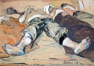 """Cose viste, 1951 Tempera su cartoncino, 50 x 70 cm. Firmato e datato in basso a destra e al centro: """"Asturi A., Cose viste, 1951"""" Donazione Anna Maria Asturi"""