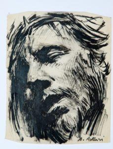 """Cristo, 1971 – 1975 Tempera su pergamena, 26 x 20 cm. Firmato in basso a destra: """"A. Asturi"""" Donazione Gregorio Asturi"""