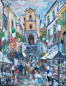 """Festa a Massaquano, 1962 Tempera su carta, 65 x 50 cm. Firmato e datato al centro: """"Asturi A., 1962"""" Donazione Anna Maria Asturi"""
