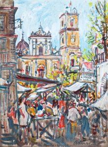"""Fiera di Sant'Agnello, 1941 Tempera su cartoncino, 36 x 26 cm. Firmato e datato in basso a destra e al centro: """"Asturi A., Sant'Agnello, Sorrento '41"""" Donazione Gregorio Asturi"""