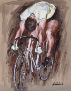"""Il Ciclista, 1935 Tempera su cartone, 50 x 40 cm. Firmato in basso a destra: """"Asturi A."""" Datazione apposta sul retro dell'autore: """"'35"""" Donazione Anna Maria Asturi"""
