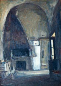 """Il forno di donna Giulia, 1941 Tempera su carta, 71.5 x 36.5 cm. Firmato e datato in basso: """"Asturi A., Vico Equense '941"""" Donazione Gregorio Asturi"""