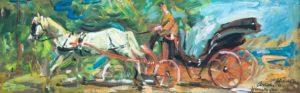 """La carrozzella, 1941 Tempera su cartone, 23 x 72 cm. Firmato e datato in basso a destra: """"fatto dal vivo, A. Asturi, Sorrento '41"""" Donazione Gregorio Asturi"""