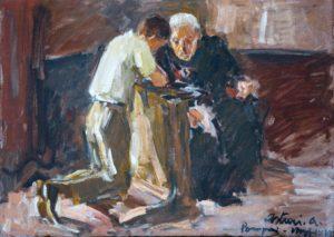 """La confessione, 1941 Tempera su cartone, 52 x 72 cm. Firmato e datato in basso a destra: """"Asturi A., Pompei, maggio '41"""" Donazione Anna Maria Asturi"""