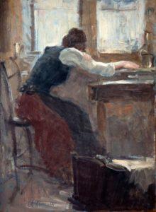 """La culla vuota, 1941 - 1943 Tempera su cartone, 72 x 53 cm. Firmato in basso a sinistra: """"Asturi A."""""""