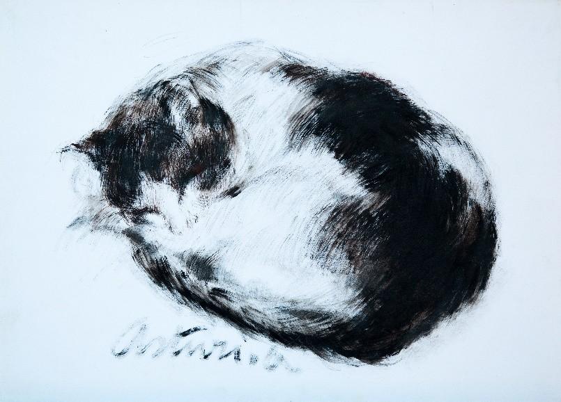 """La siesta del gatto, 1971 – 1975 Tempera su carta, 36 x 51 cm. Firmato in basso verso sinistra: """"Asturi A."""" Donazione Anna Maria Asturi"""