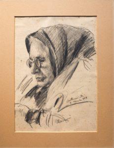 "Mammà, 1949 Matita su carta, 35 x 25 cm. Firmato e datato in basso a destra e al centro: ""Asturi A., 9 aprile 949, Mammà"" Donazione Anna Maria Asturi"