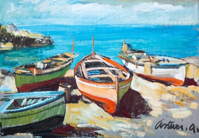 """Marina a Vico, 1955 – 1960 Tempera su carta, 36 x 50 cm. Firmato in basso a destra: """"Asturi A."""" Donazione Anna Maria Asturi"""