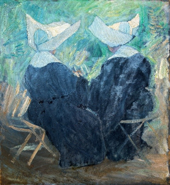 """Monache alle Terme Stabiane, 1953 – 1958 Tecnica mista su compensato, 55 x 51 cm. Firmato in basso a sinistra: """"Asturi A."""" Donazione Anna Maria Asturi"""