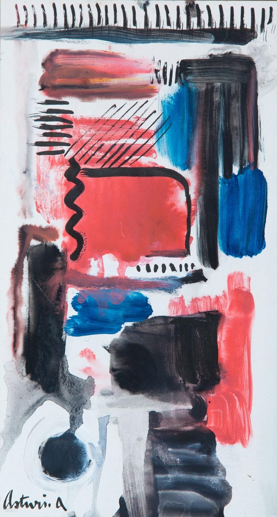 """Percorsi, 1969 – 1970 Acquerello su cartoncino, 29 x 16 cm. Firmato in basso a sinistra: """"Asturi A."""" Donazione Gregorio Asturi"""