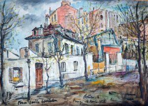 "Place Emile Goudeau, 1958 Tecnica mista su carta, 54 x 76 cm. Firmato e datato in basso al centro: ""Asturi A., Place Emile Goudeau, Parigi, 14 aprile 958"" Donazione Anna Maria Asturi"
