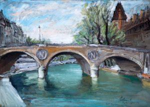 """Pont Napoleon, 1970 Tempera su carta, 50 x 70 cm. Firmato e datato in basso a destra: """"Asturi A., Parigi, gennaio 70, Pont Napoleon"""" Donazione Anna Maria Asturi"""
