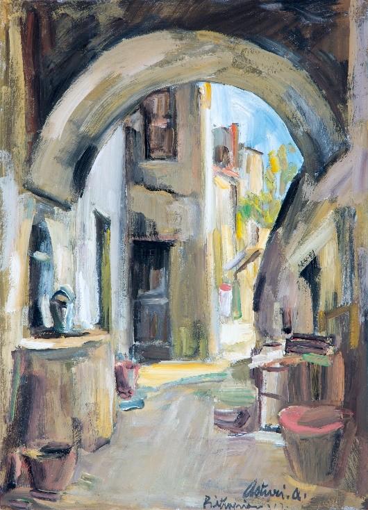 """Rustico a Pietrapiano, 1947 Tempera su cartone, 46 x 33 cm. Firmato e datato in basso a destra: """"Asturi A., Pietrapiano 947"""" Donazione Gregorio Asturi"""