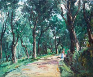 """Scorcio boschivo, 1943 – 1947 Tempera su cartone, 45 x 55 cm. Firmato in basso a sinistra: """"Asturi A."""" Donazione Gregorio Asturi"""