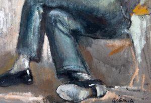 "Seduto, 1955 – 1960 Tempera su carta Firmato in basso a destra: ""Asturi A."""