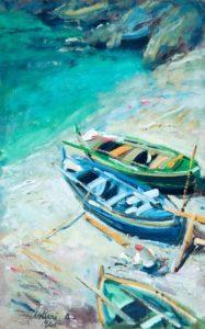 """Spiaggia con barche, 1941 Tempera su cartone, 50 x 32 cm. Firmato e datato in basso a sinistra: """"Asturi A. 941"""" Donazione Gregorio Asturi"""