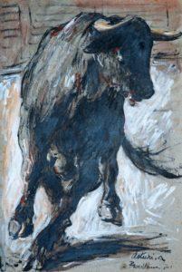 """Toro nell'arena, 1971 Tempera su cartone, 72 x 49 cm. Firmato e datato in basso a destra: """"Asturi A., Barcellona '71"""" Donazione Anna Maria Asturi"""