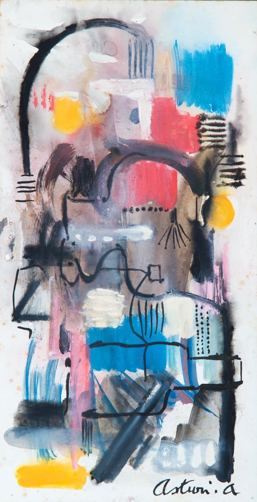 """Tra i vicoli, 1969 – 1970 Acquerello su carta, 33 x 20 cm. Firmato in basso a destra: """"Asturi A."""" Donazione Gregorio Asturi"""