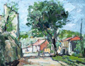 """Via Arola, 1943 – 1947 Tempera su cartoncino, 27 x 35 cm. Firmato in basso a destra: """"Asturi A,"""" Donazione Gregorio Asturi"""