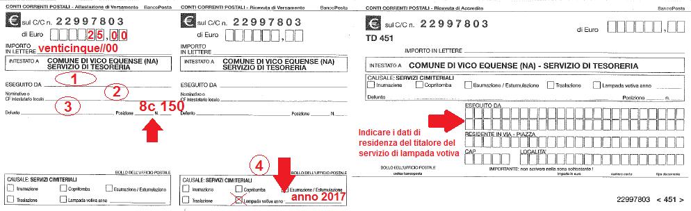 Fax-simile bollettino di pagamento