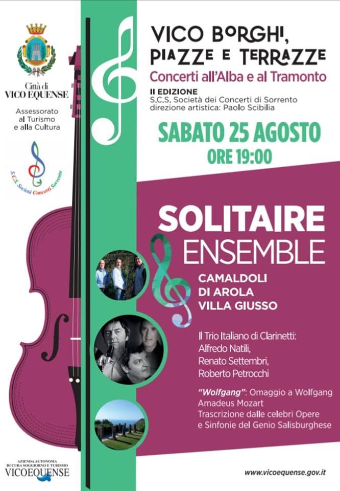 Vico Equense, concerto di «Solitaire Ensemble» a Villa Giusso ai Camaldoli